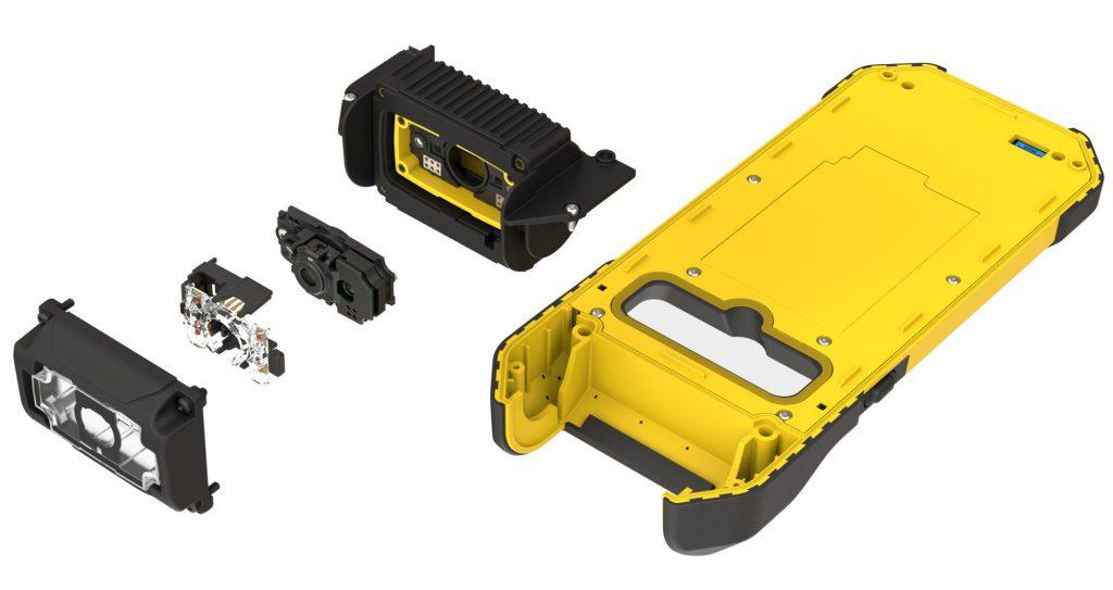 Beim MX-1502 wird ein handelsübliches Smartphone mit einem robusten Gehäuse und Lesekopf versehen, der die Scaneinheit und Optik enthält