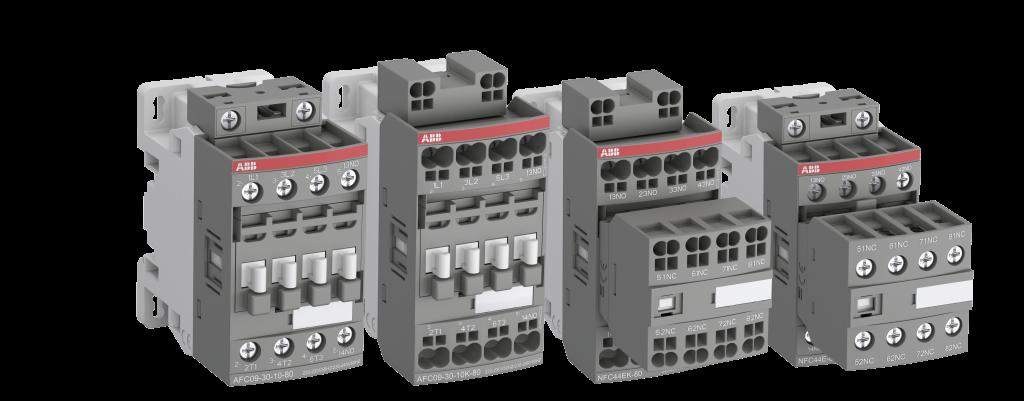 Die AFC-Schütze sind mit Schraub- oder Push-In-Federanschlussklemmen erhältlich und verfügen über ein gemeinsames Sortiment an Zubehör und Schutzvorrichtungen.