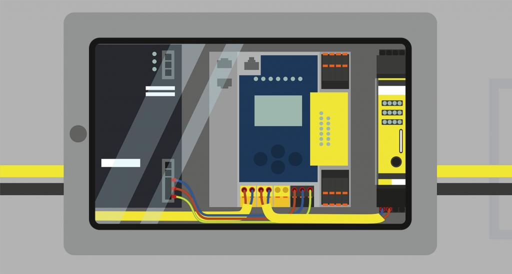 Schaltschrank mit ASi-5/ASi-3-Gateway und sicherem ASi-Safety-Analogeingangsmodul zur Temperaturüberwachung