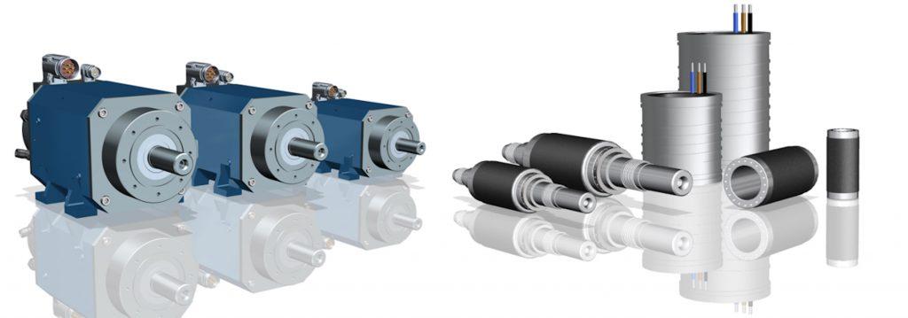 Neben der Motorbaureihe (l.) bietet GMN auch Einbauelemente (r.), auf deren Basis Kunden einen individuellen Motor rasch und einfach zusammenstellen können.