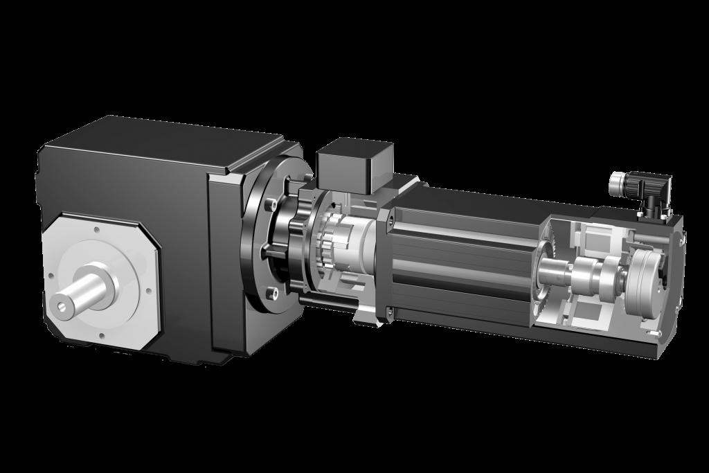 Die Zweibremsenlösung von Stöber umfasst einen Getriebemotor mit ServoStop-Federdruckbremse und Permanentmagnetbremse des Motors - ein zusätzlicher Motoradapter entfällt.