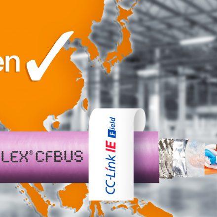 Hochflexible Ethernet-Leitungen für die e-kette mit CC-Link IE Field Zertifikat