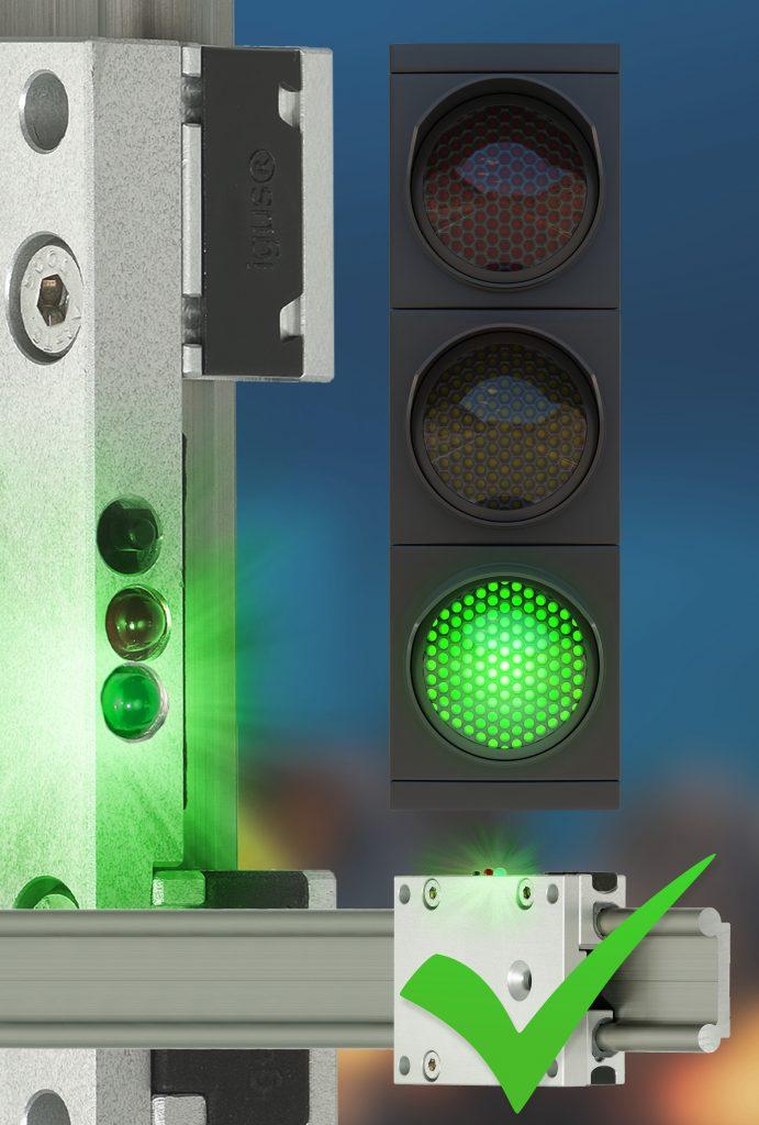 Nach dem Ampelprinzip erfährt der Instandhalter jetzt über eine LED-Anzeige am Schlitten der drylin Linearführung, ob ein Wechsel der Gleitfolie ansteht.