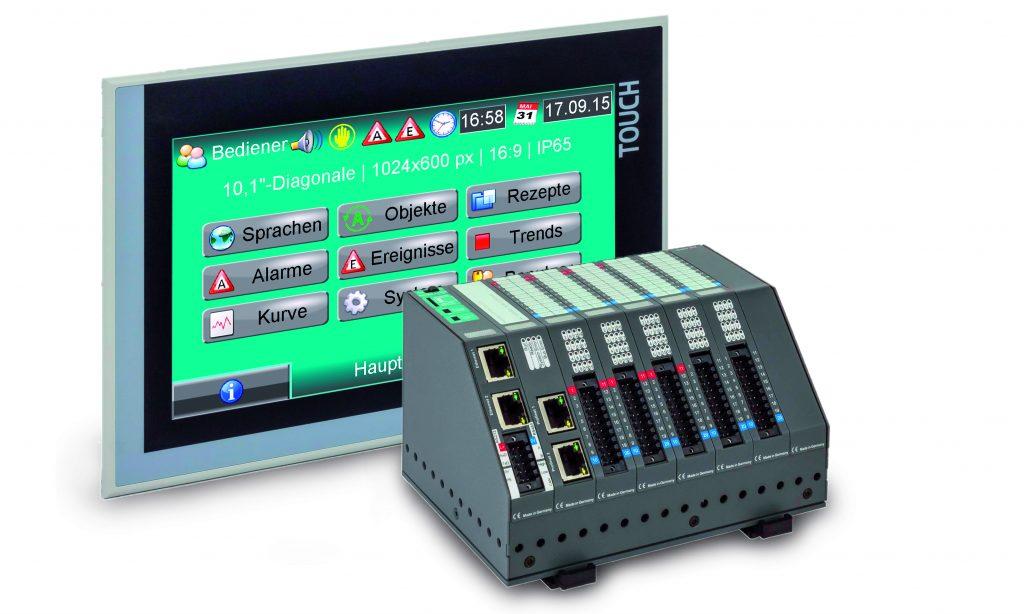 "S7-Kompakt-SPS mit Webserver und abgesetztes 10""-Panel mit VNC-Server"