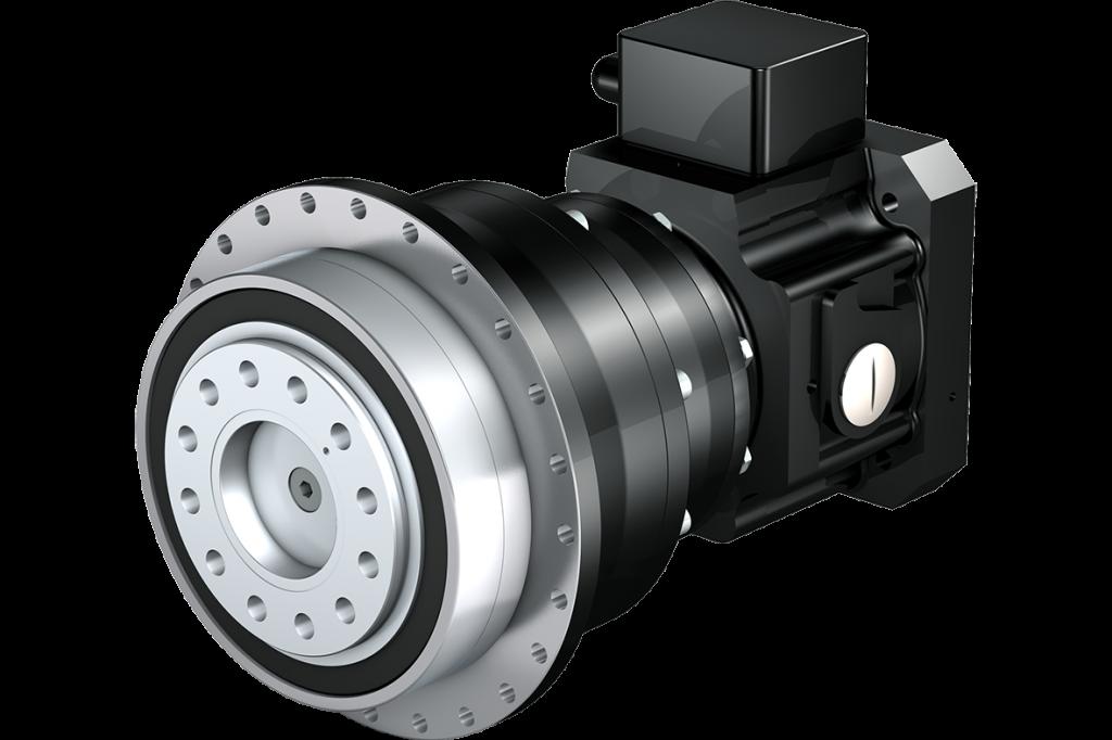 Stöber-Planetengetriebe mit ServoStop, kurz bauendem Motoradapter und Steckkupplung. Das Getriebe ist an alle gängigen Synchron-Servomotoren anbaubar.