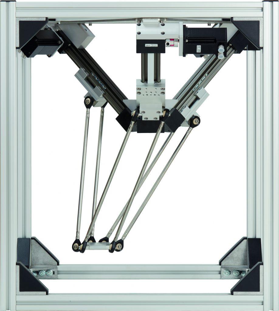 Der Deltaroboter schafft mehr als 60 Picks pro Minute und auch als vormontierter Bausatz oder einbaufertig im Transportrahmen erhältlich.