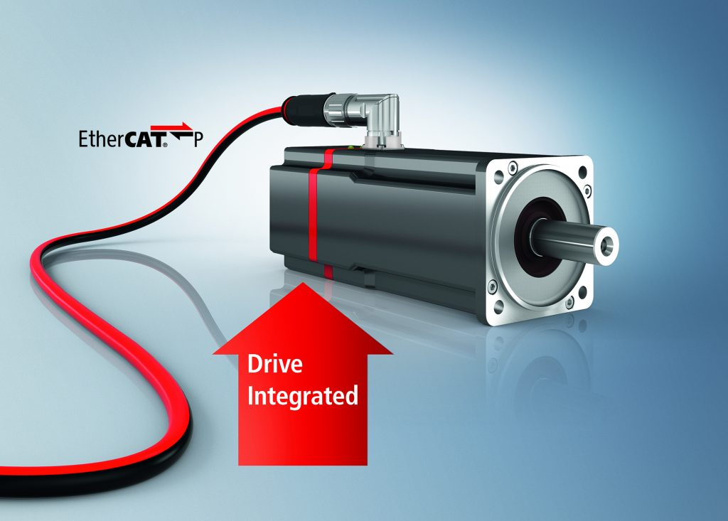 Dezentraler Servoantrieb mit Einkabellösung EtherCAT P: Der AMP8000 bildet die optimale Basis für kompakte und konsequent modularisierte Maschinen.