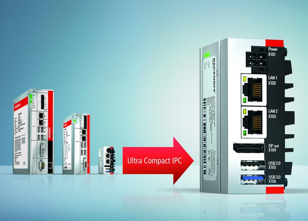 Der Ultra-Compact-IPCC6015 baut um den Faktor3 kompakter als der bisher kleinste Beckhoff Schaltschrank-IPC C6905.