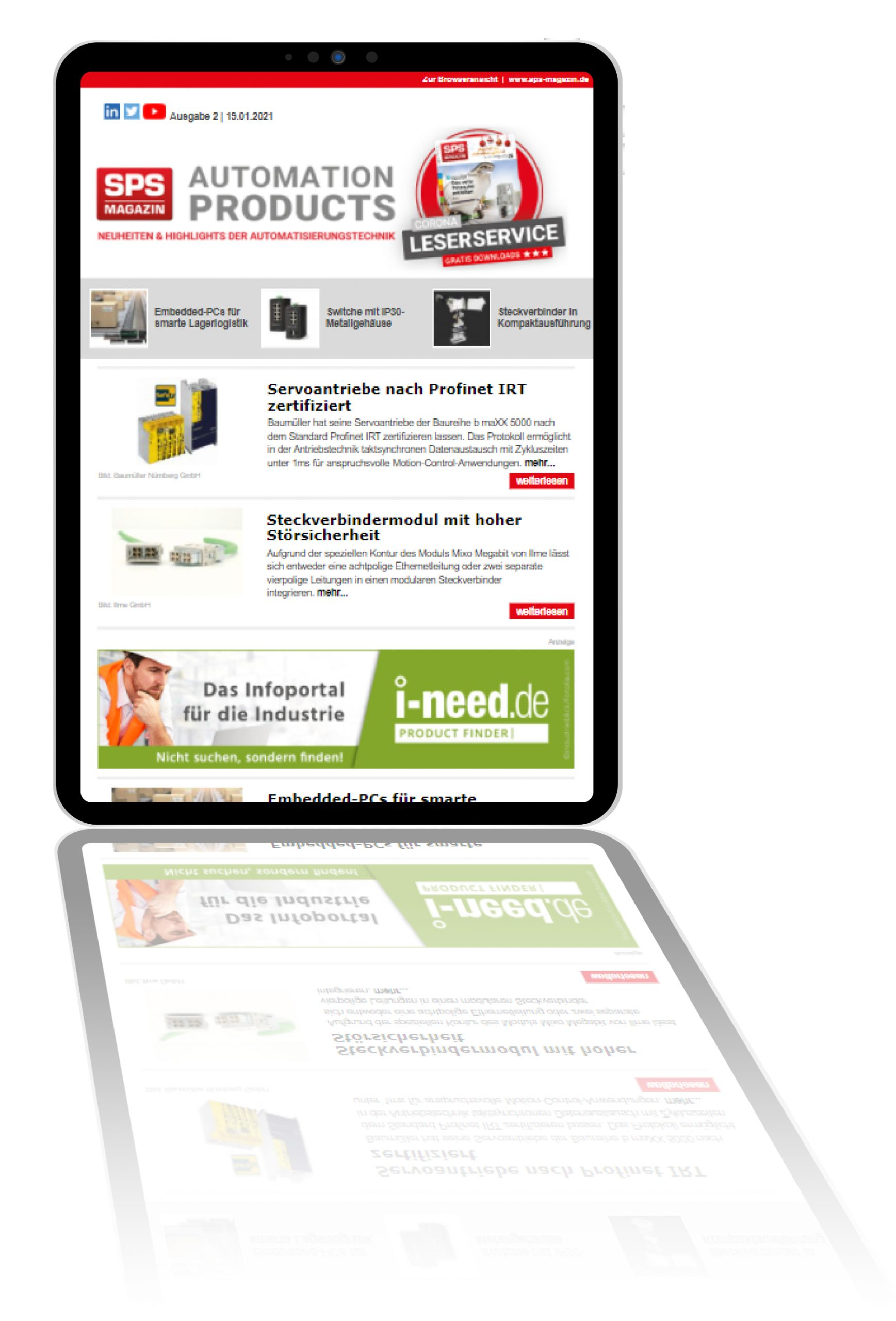 Automation Product Newsletter im neuen Layout